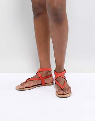 Call it SPRING Red Tie Up Flat Sandals