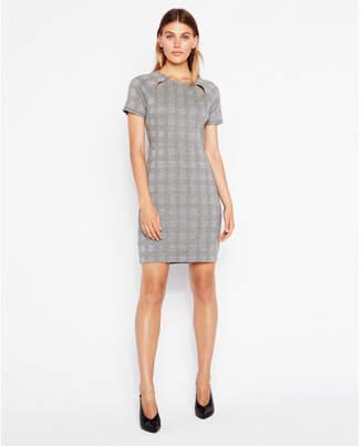 Express plaid cut-out shoulder dress