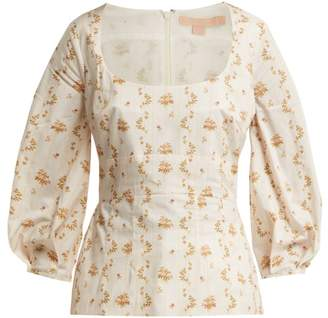 Brock Collection Orrechino Floral Print Panelled Cotton Top - Womens - White Multi