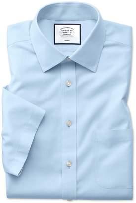 Charles Tyrwhitt Classic Fit Non-Iron Sky Blue Natural Cool Short Sleeve Cotton Dress Shirt Size 15.5/Short