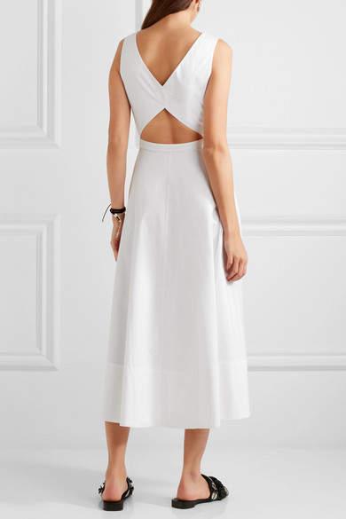 Saloni - Zoe Cutout Cotton-blend Dress - White 4