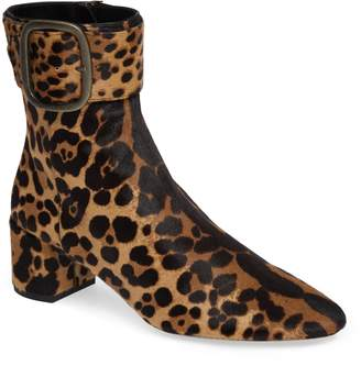 Saint Laurent Leopard Genuine Calf Hair Buckle Bootie
