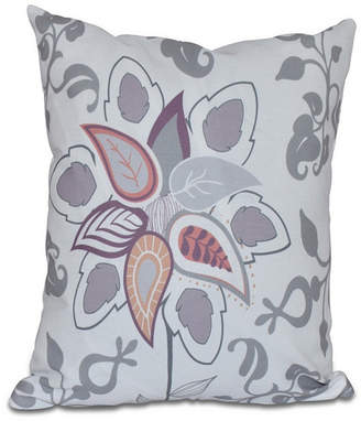 Paisley Pop 16 Inch Gray Decorative Floral Throw Pillow