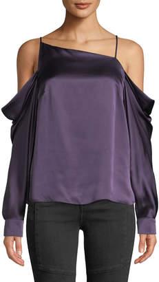 Parker Amelia Cold-Shoulder Silk Blouse