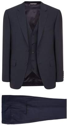 Canali Micro Check Three-Piece Suit