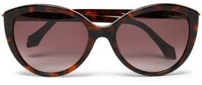 Roberto Cavalli Cat-Eye Pebbled-Leather And Acetate Sunglasses
