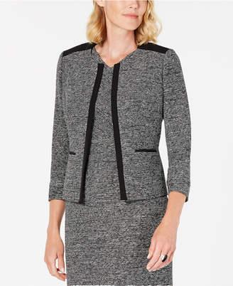 Kasper Tweed Contrast-Trim Jacket