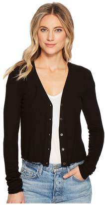 Three Dots Viscose Rib Crop Cardigan Women's Sweater