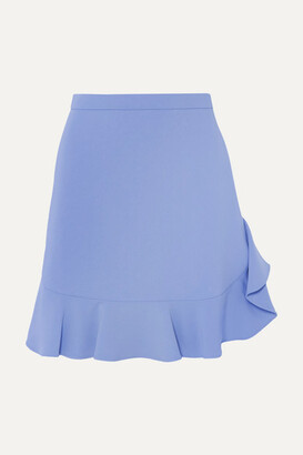 Miu Miu Ruffled Crepe Mini Skirt - Blue