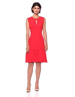 Milly Women's Italian Cady Sleeveless Flounce Hem Midi Peyton Dress