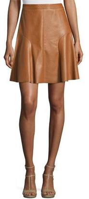 Rebecca Taylor Faux-Leather A-Line Skirt, Cognac $325 thestylecure.com