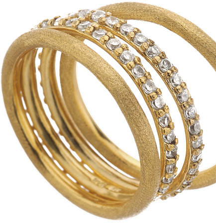 Zaria Mixed Gold and Cubic Zirconia Ring Set