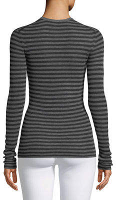 Vince Cashmere Striped Ribbed Long-Sleeve Tee