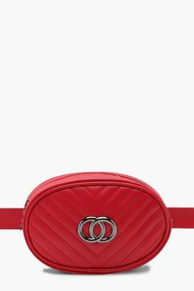 boohoo Double Ring Chevron Quilted Belt Bag