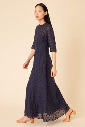 Mansur Gavriel Floral Embroidered Linen Fine Dress - Blu