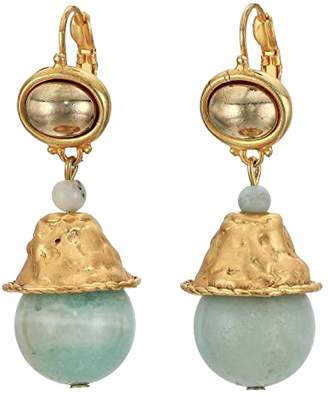 Kenneth Jay Lane Satin Gold Top/Amazonite Bead Drop Pierced Earrings