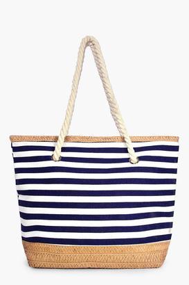 boohoo Matilda Stripe & Straw Beach Bag blue
