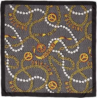 Moschino Pearl & Chain Silk Scarf