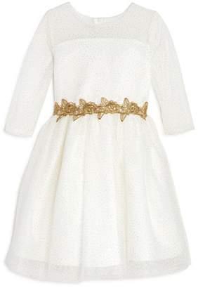 Us Angels Girls' Metallic-Glitter-Dotted Dress - Little Kid