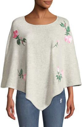 Neiman Marcus Floral Embroidery Cashmere Poncho
