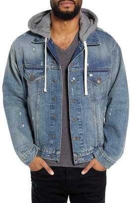 The Kooples Oversized Distressed Denim Jacket with Hood
