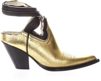 Maison Margiela Vegas Gold Leather Cutout Ankle Boots