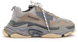 Balenciaga Triple S Split Colourway Low Top Trainers - Mens - Black Grey