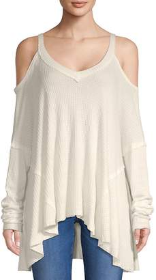 Ppla Women's Cold-Shoulder Ribbed Top
