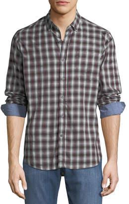 Report Collection Men's Plaid Print Sport Shirt