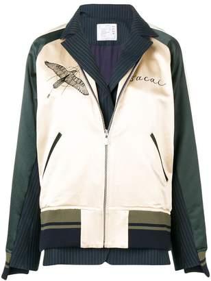 Sacai hawk embroidered bomber jacket