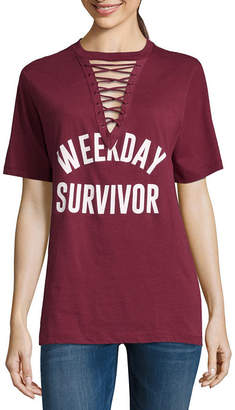 Freeze Weekday Survivor Lace Up Tee - Juniors