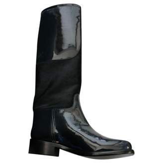 Chanel Blue Patent leather Boots