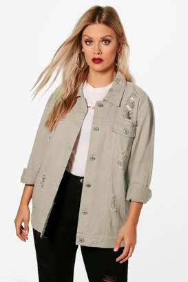 boohoo Plus Jemima Distressed Twill Jacket