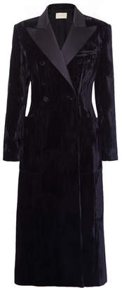 Christopher Kane Double-breasted Satin-trimmed Crushed-velvet Coat - Black