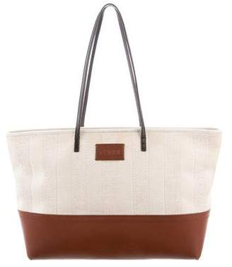 Fendi Pequin Leather-Trimmed Roll Tote