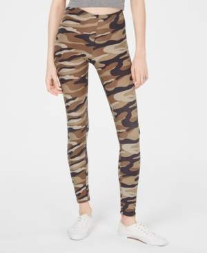 Planet Gold Juniors' Camo-Printed Brushed Jersey Leggings