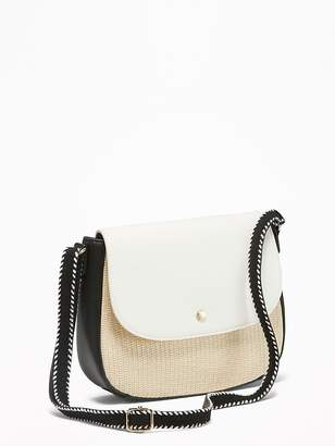 Old Navy Color-Blocked Straw/Faux-Leather Saddle Bag for Women