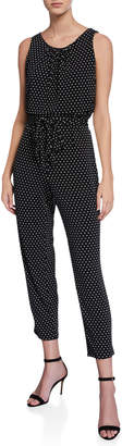 T Tahari Polka Dot Sleeveless Jumpsuit