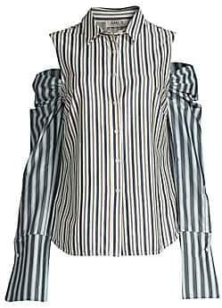 2b881b1c56dc9 AMUR Women s Jen Cold-Shoulder Button-Down Shirt