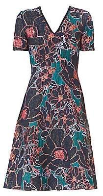 Carolina Herrera Women's Floral A-Line Knit Dress