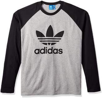 adidas Men's Trefoil Long Sleeve Tee, Medium Grey Heather/Black