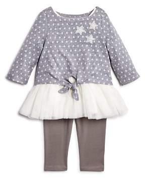 Pippa & Julie Girls' Star-Print Tie-Front Sweater, Tutu Tank Dress & Leggings Set - Baby