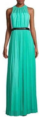 ABS by Allen Schwartz Women's Pleated Sheer Overlay Gown