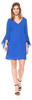 Nicole Miller New York Women's v-Neck Bell Sleeve Shift Dress
