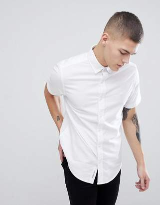 Original Penguin Short Sleeve Slim Fit Oxford Shirt With Button Down Collar In White