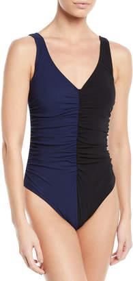 Karla Colletto Sorella Two-Tone Underwire One-Piece Swimsuit