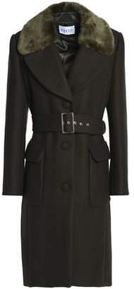 Claudie Pierlot Faux Fur-Trimmed Wool-Blend Felt Coat