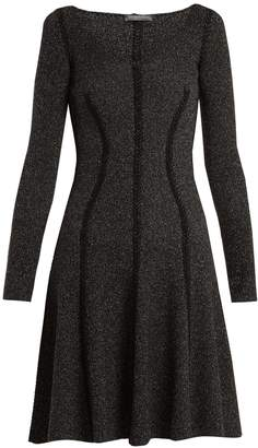Alexander McQueen Speckled flared-skirt ribbed-knit dress