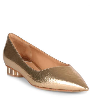 Salvatore Ferragamo Bari metallic gold embossed ballerina