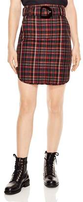 Sandro Atypique Rounded Plaid Skirt
